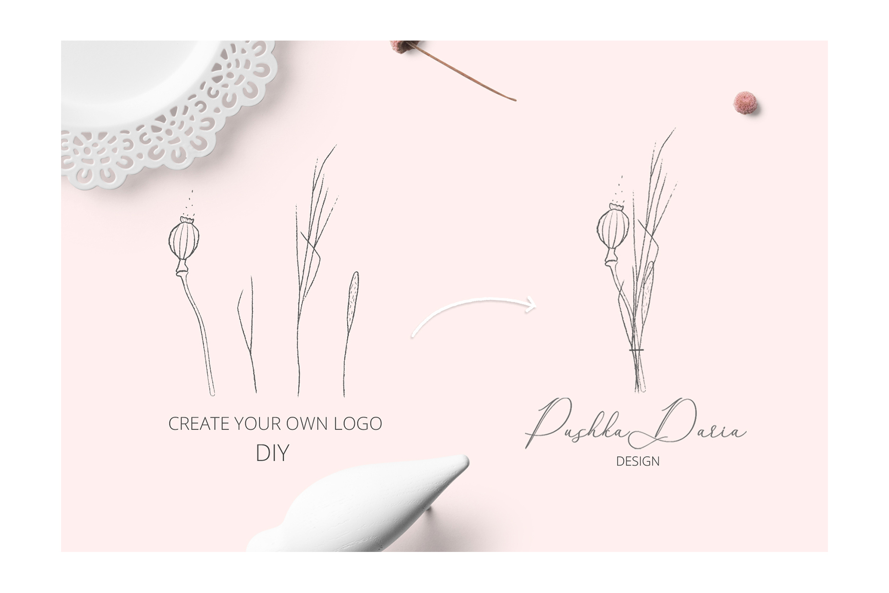 HERB & SEEDS VECTOR PENSIL ELEMENTS example image 7