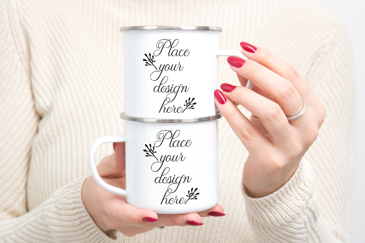 Enamel mug mockup woman holding two Camp sublimation mugs example image 1