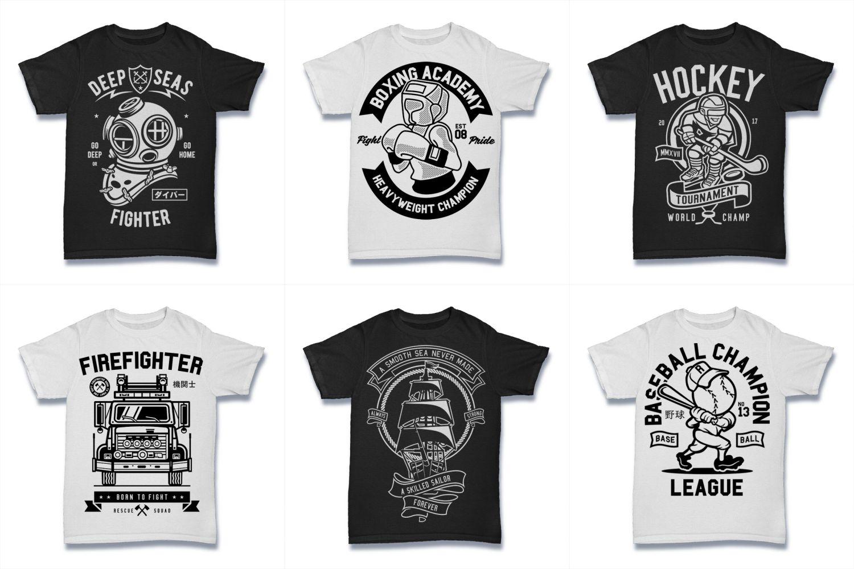 100  Vector Tshirt Designs ( B/W Concept ) example image 16