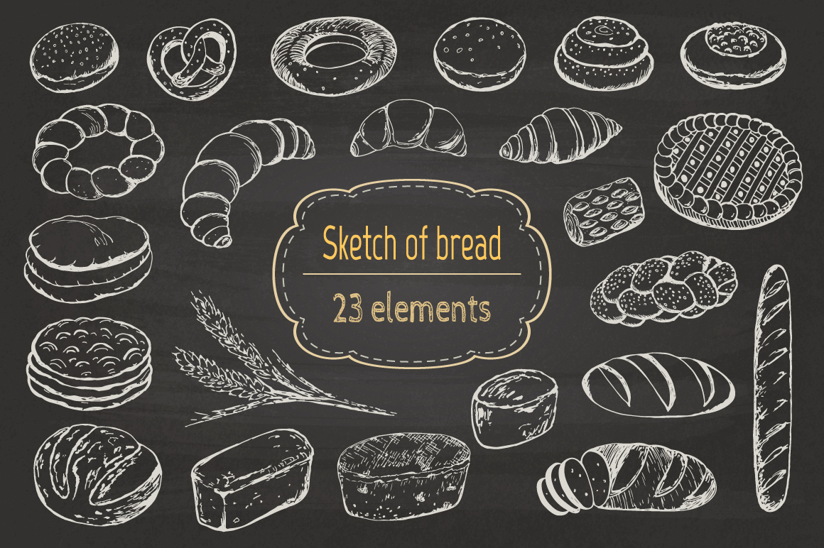 Sketch of bread and pastries. example image 2