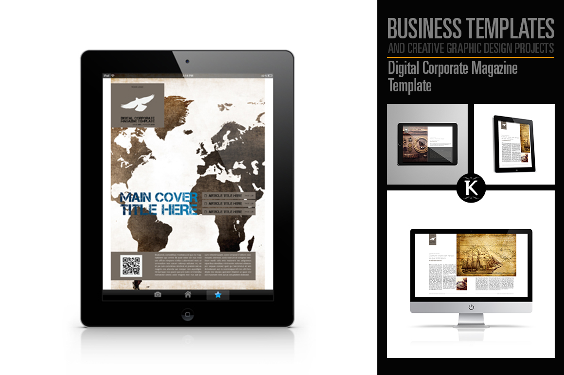 Digital Corporate Magazine Template example image 1