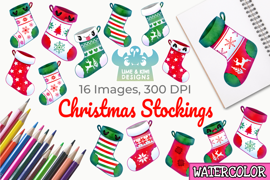 Christmas Stockings Watercolor Clipart, Instant Download example image 1