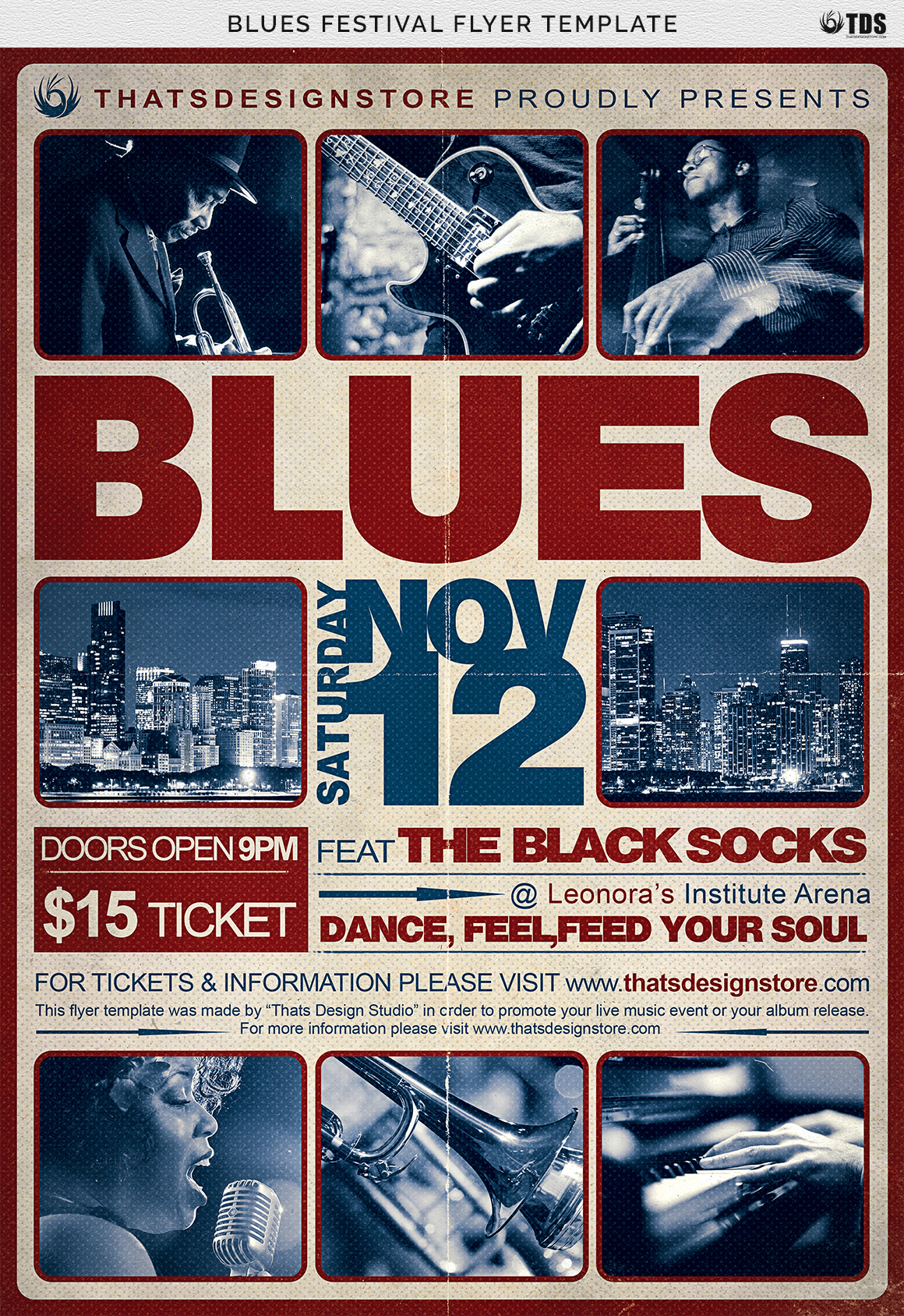Blues Festival Flyer Template V2 example image 9