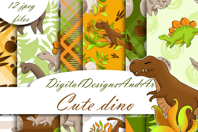 Dinosaur digital paper example image 1