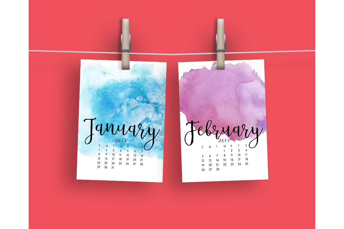 2017 Hand Paint Watercolor Calendar  example image 2