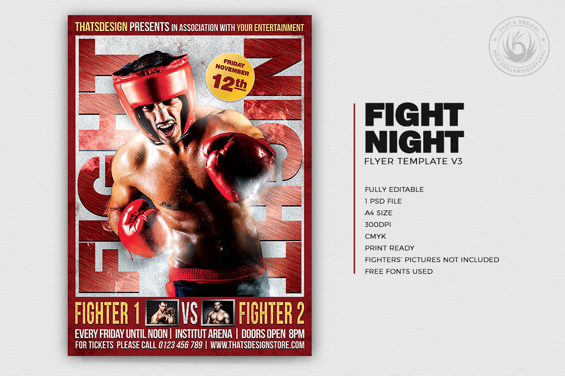 Fight Night Flyer Template V3 example image 2