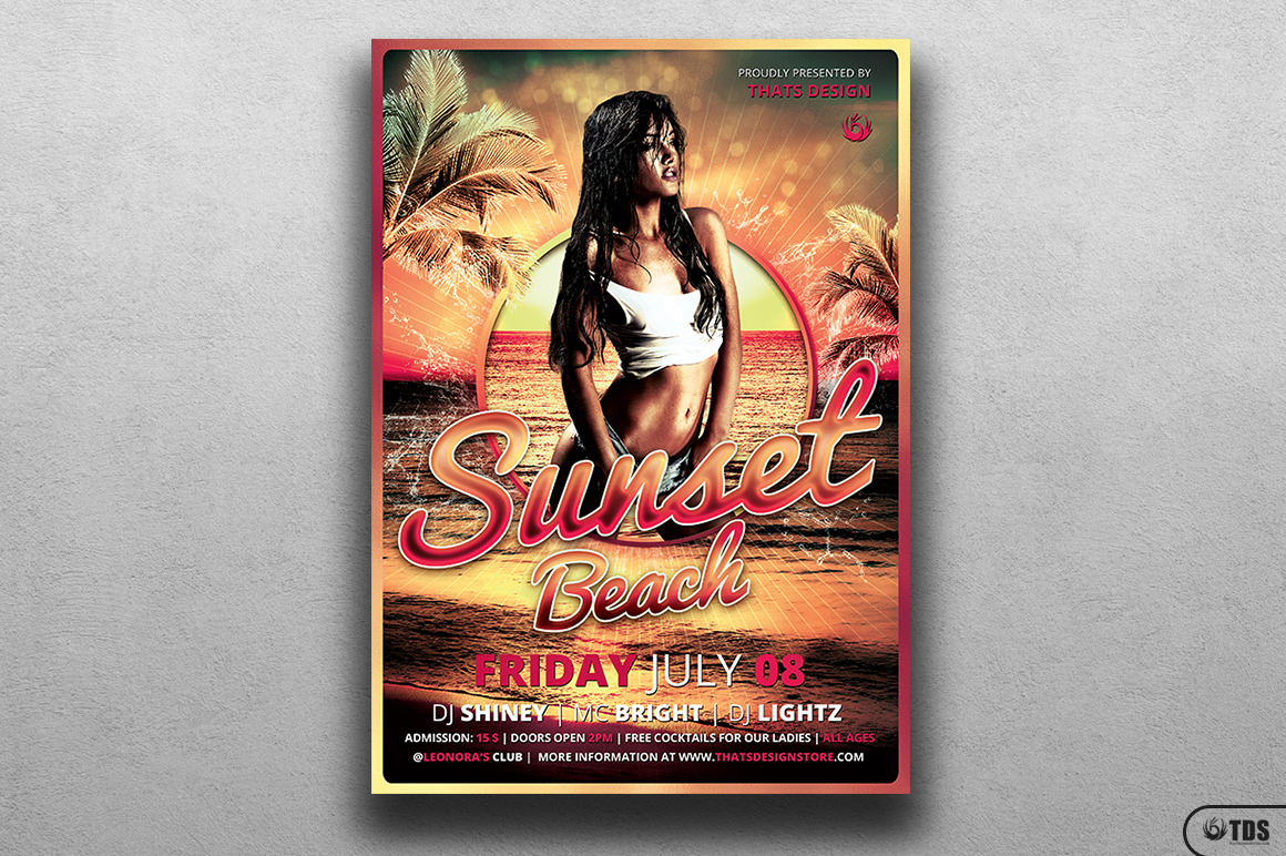 Beach Party Flyer Template V3 example image 1
