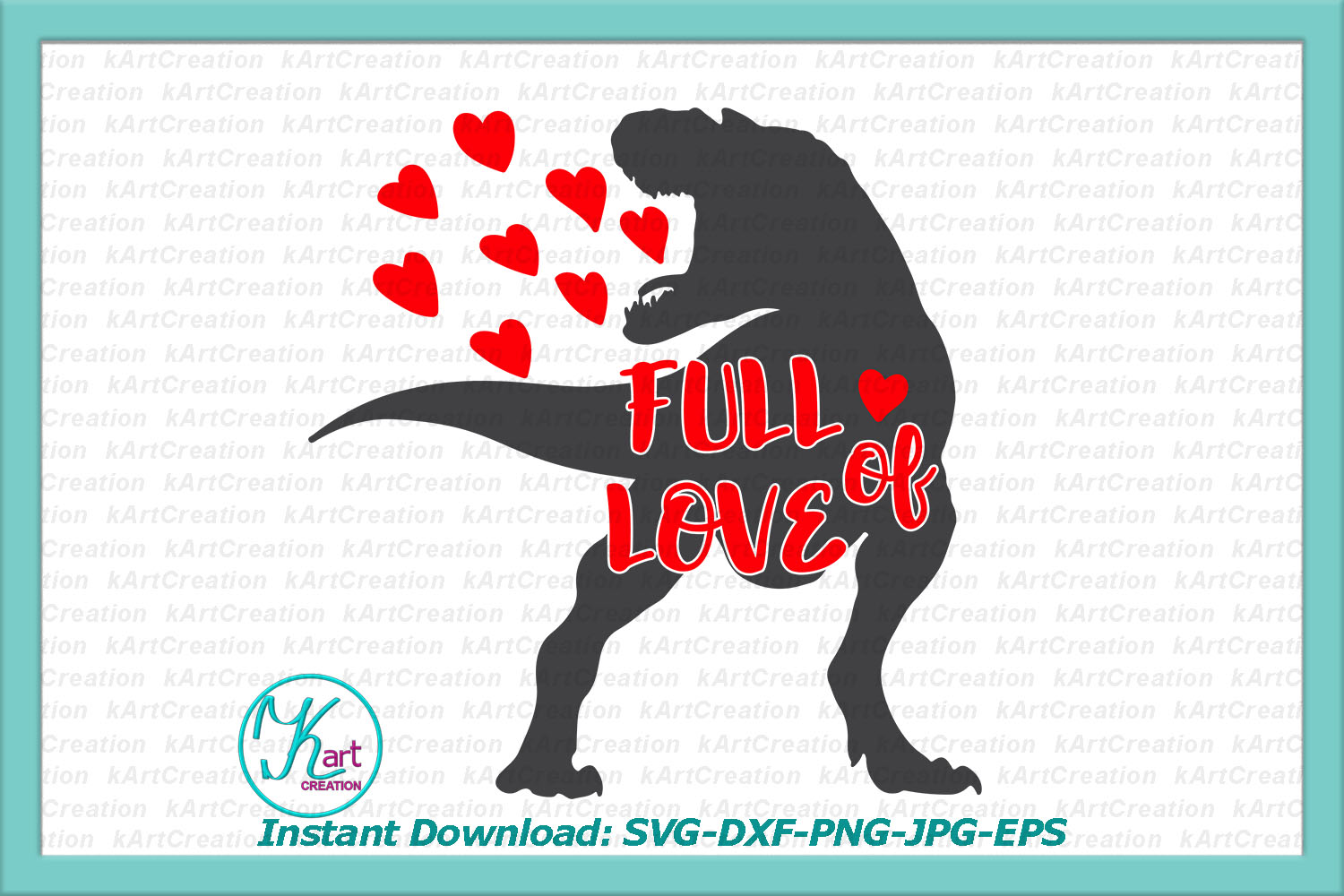 Foll of love Valentine dinosaur with hearts svg dxf cutting example image 1