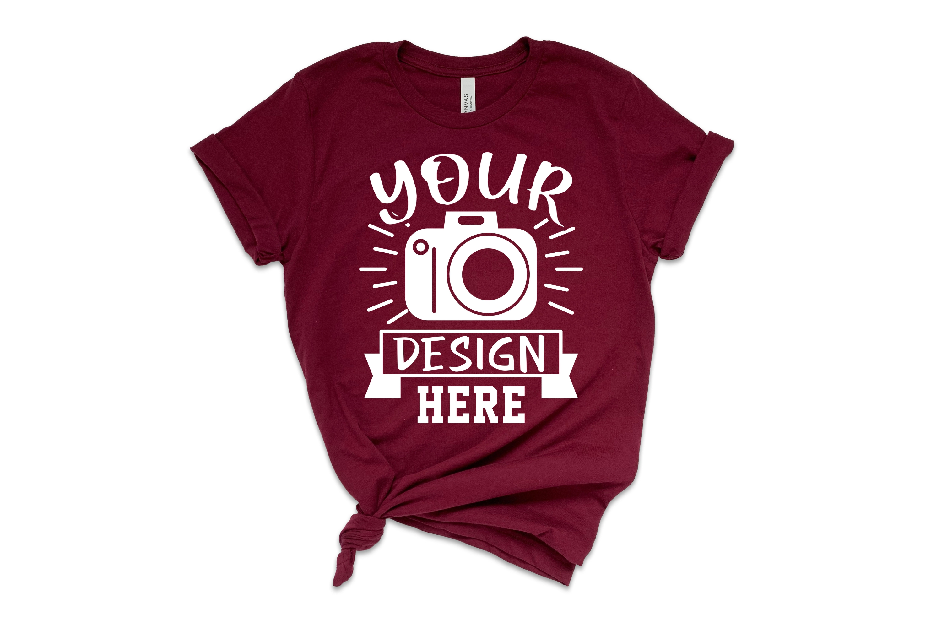 Bella Canvas 3001 Mockup, flat lay Maroon t-shirt mockup example image 1