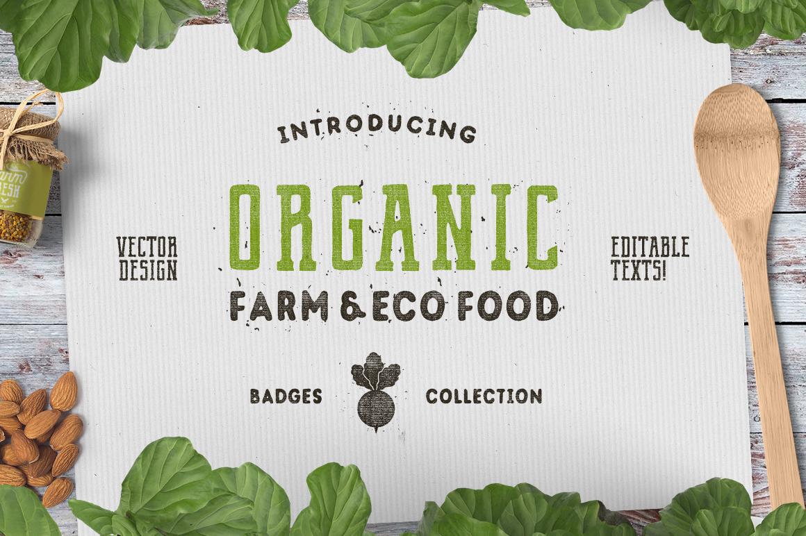 Organic Farm & Eco Food Badges example image 1