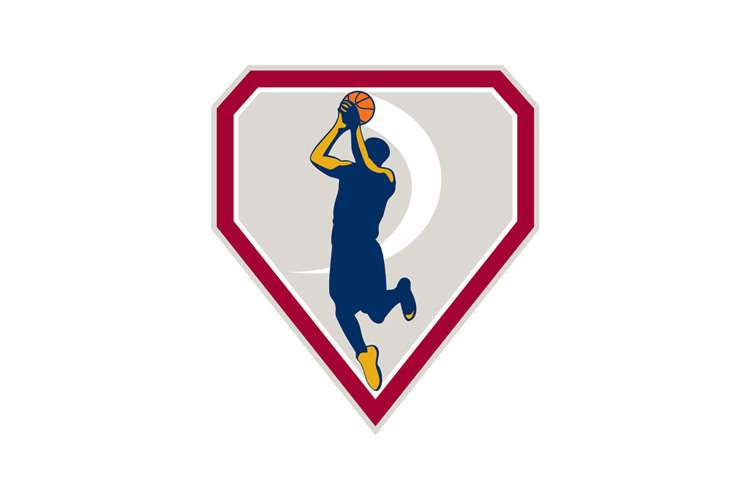 Basketball Player Jump Shot Ball Shield Retro example image 1