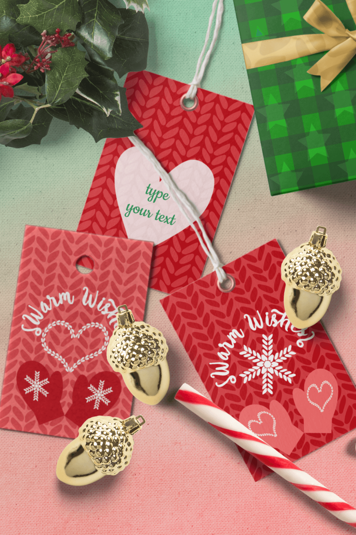 Printable Warm Wishes Red Tags Knitting Branding Tags example image 9