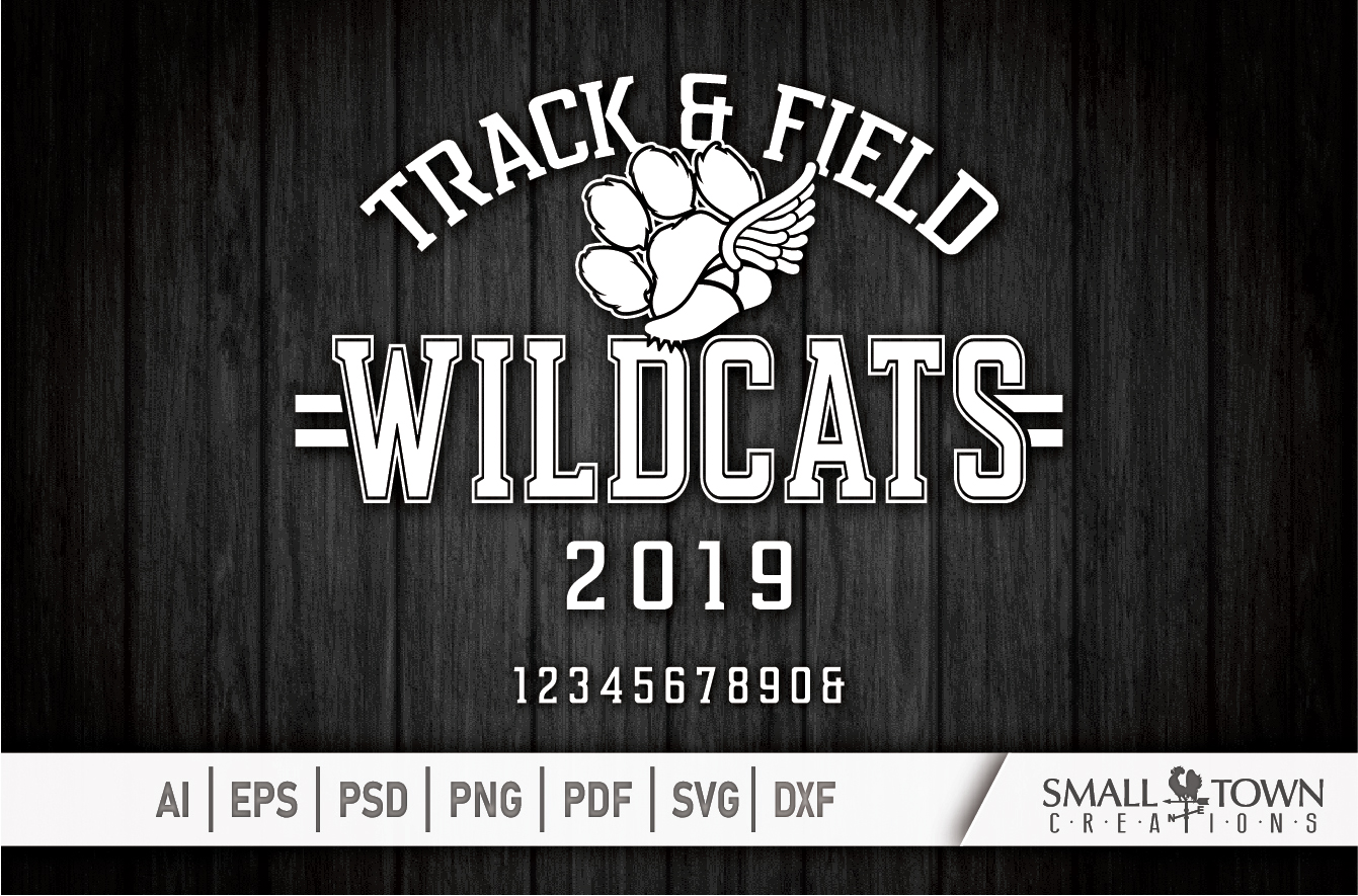 Wildcats Track and Field, Wildcat mascot, PRINT, CUT, DESIGN example image 5