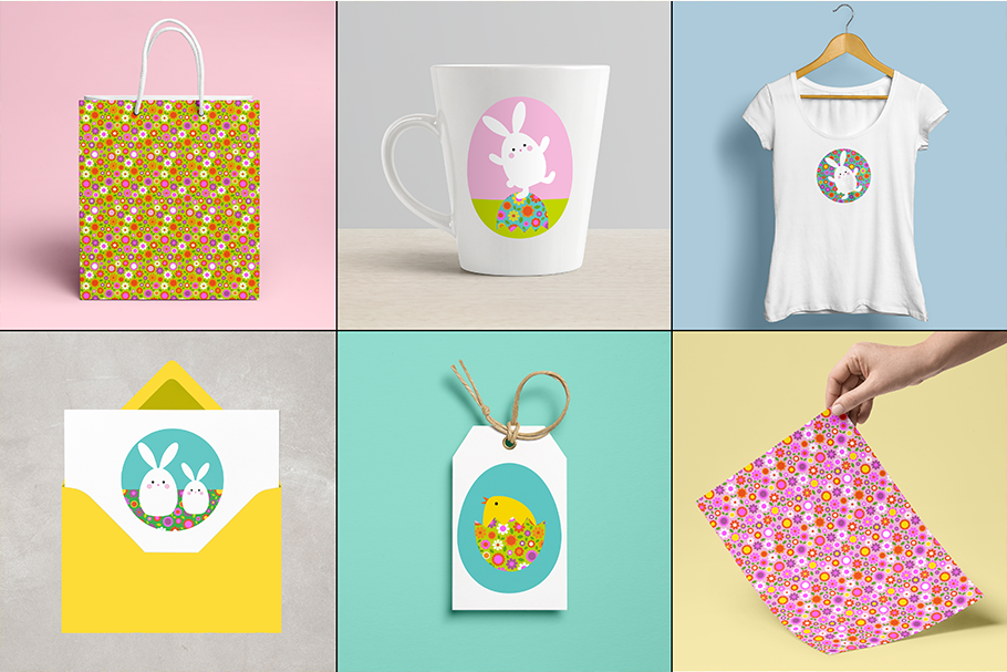 Easter Bunny Graphics & Floral Patterns example image 3