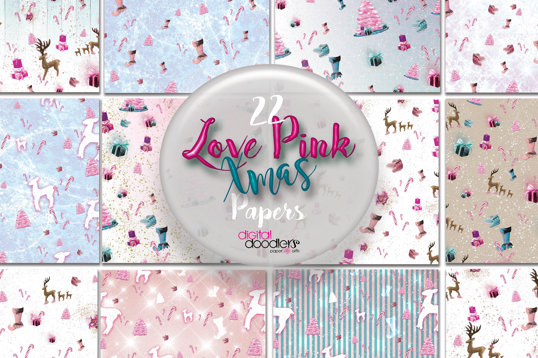 Love Pink Xmas Digital Paper example image 1