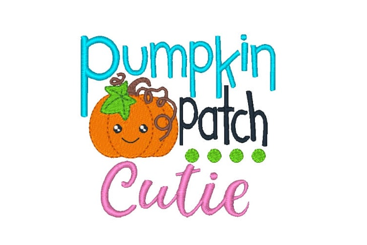 Pumpkin Patch Cutie Embroidery Design Saying example image 1