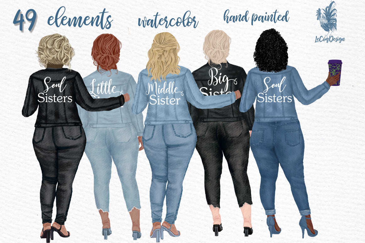 Curvy girls Plus size girls clipart Best Friends clipart example image 1