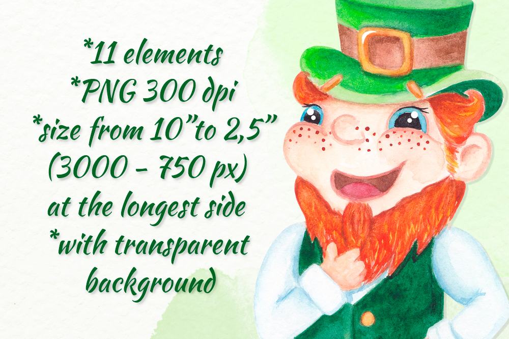 St Patrick's day clipart Watercolor graphics example image 3