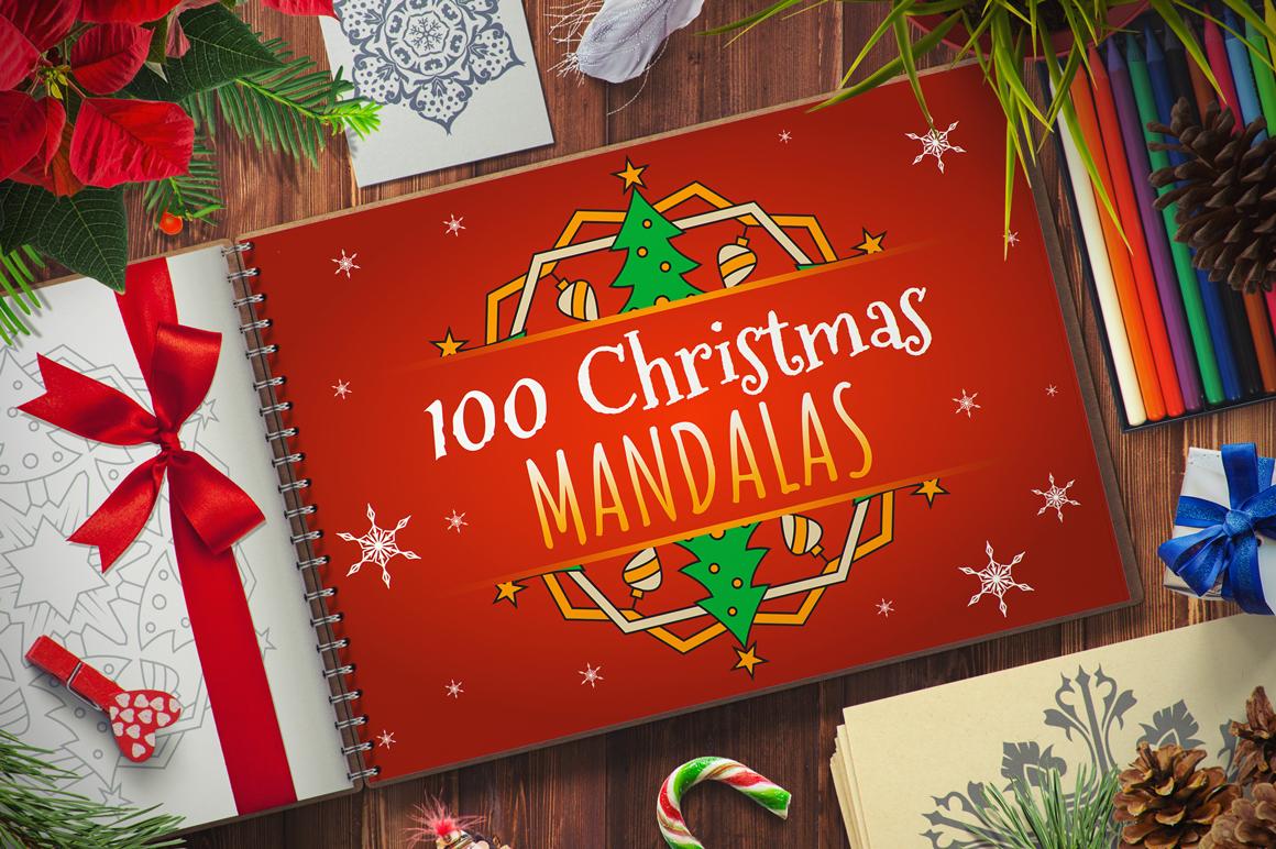 100 Christmas Mandala Ornaments example image 1