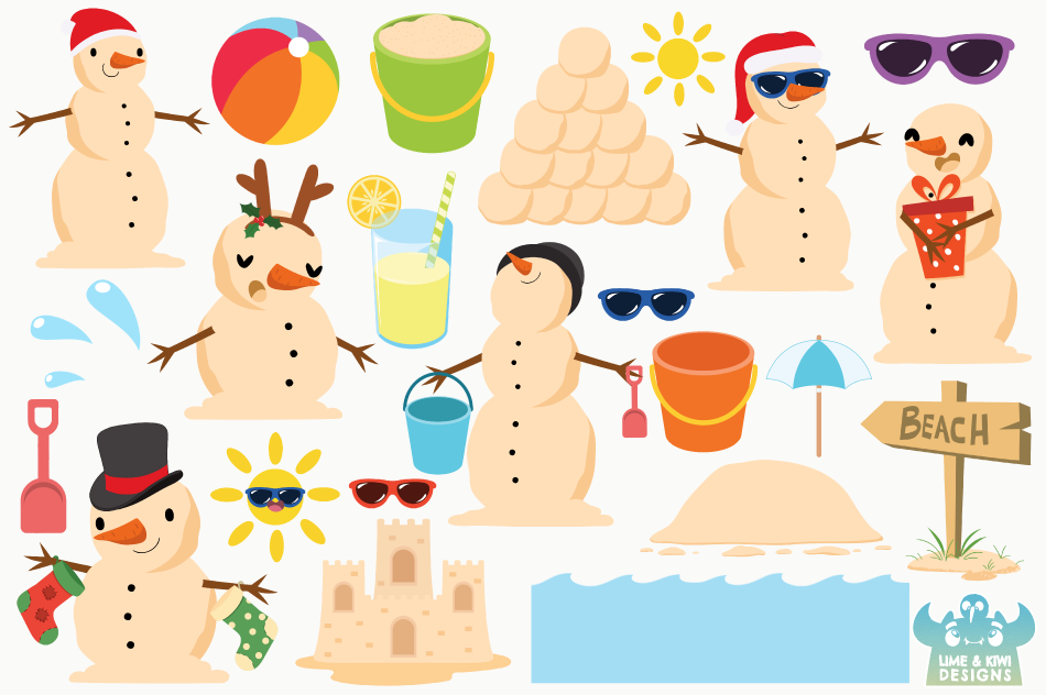 Beach Christmas Snowmen Clipart, Instant Download Vector Art example image 2