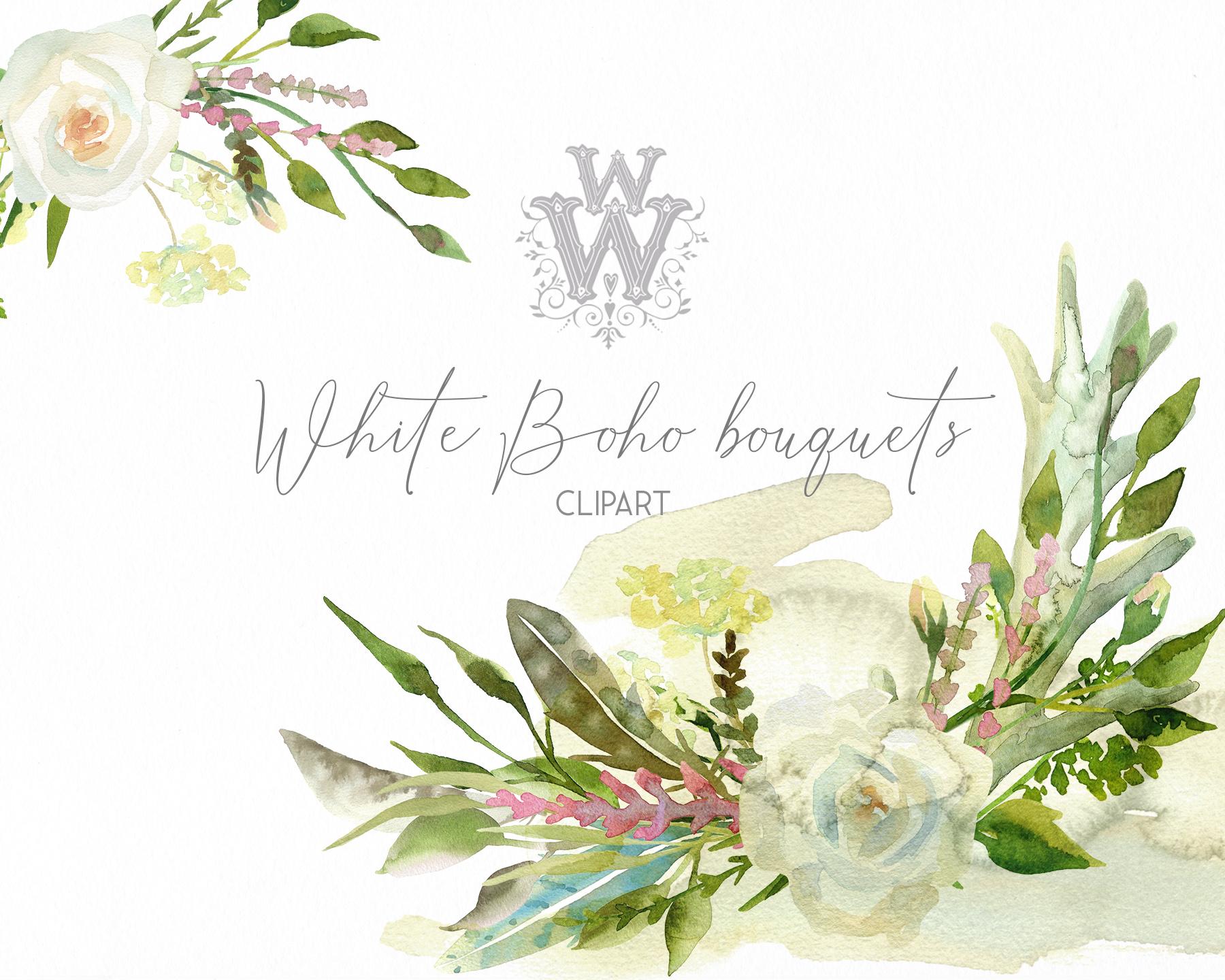 Watercolor floral wedding bouquets, boho compositios wreath example image 4