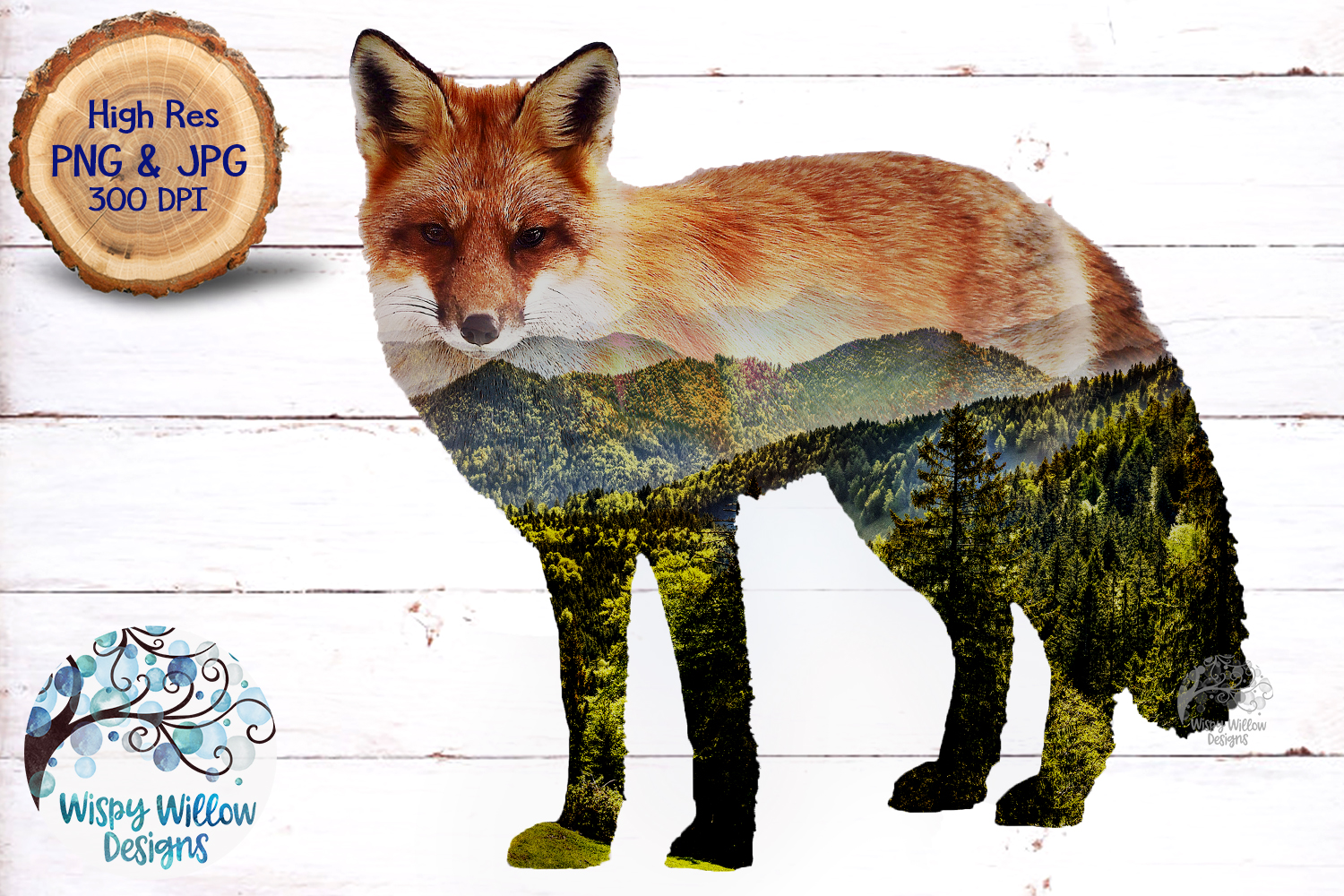 Double Exposure Mountain Fox PNG | Sublimation example image 2