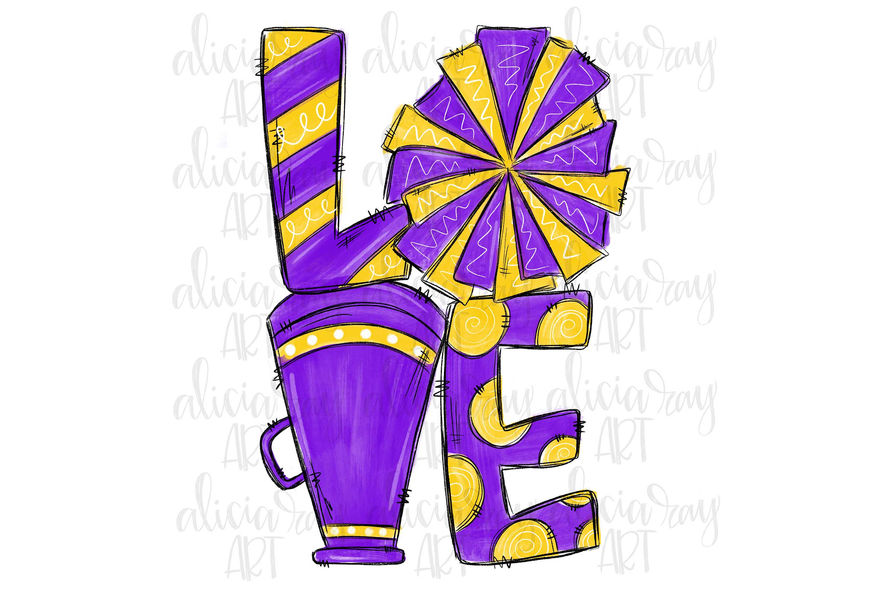 Cheer Love Powder Purple and Yellow example image 1