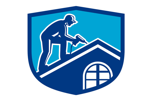 Roofer Construction Worker Working Shield Retro example image 1
