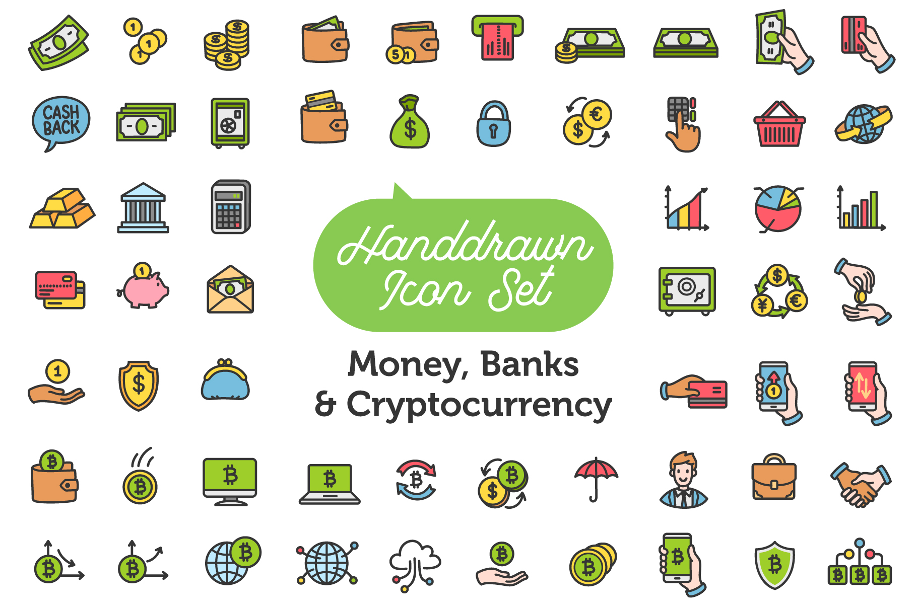 Money, Banks and Cryptocurrency Icon Set example image 1
