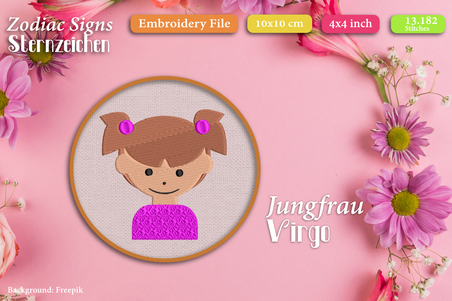 Zodiac signs - Embroidery Files - Bundle example image 10