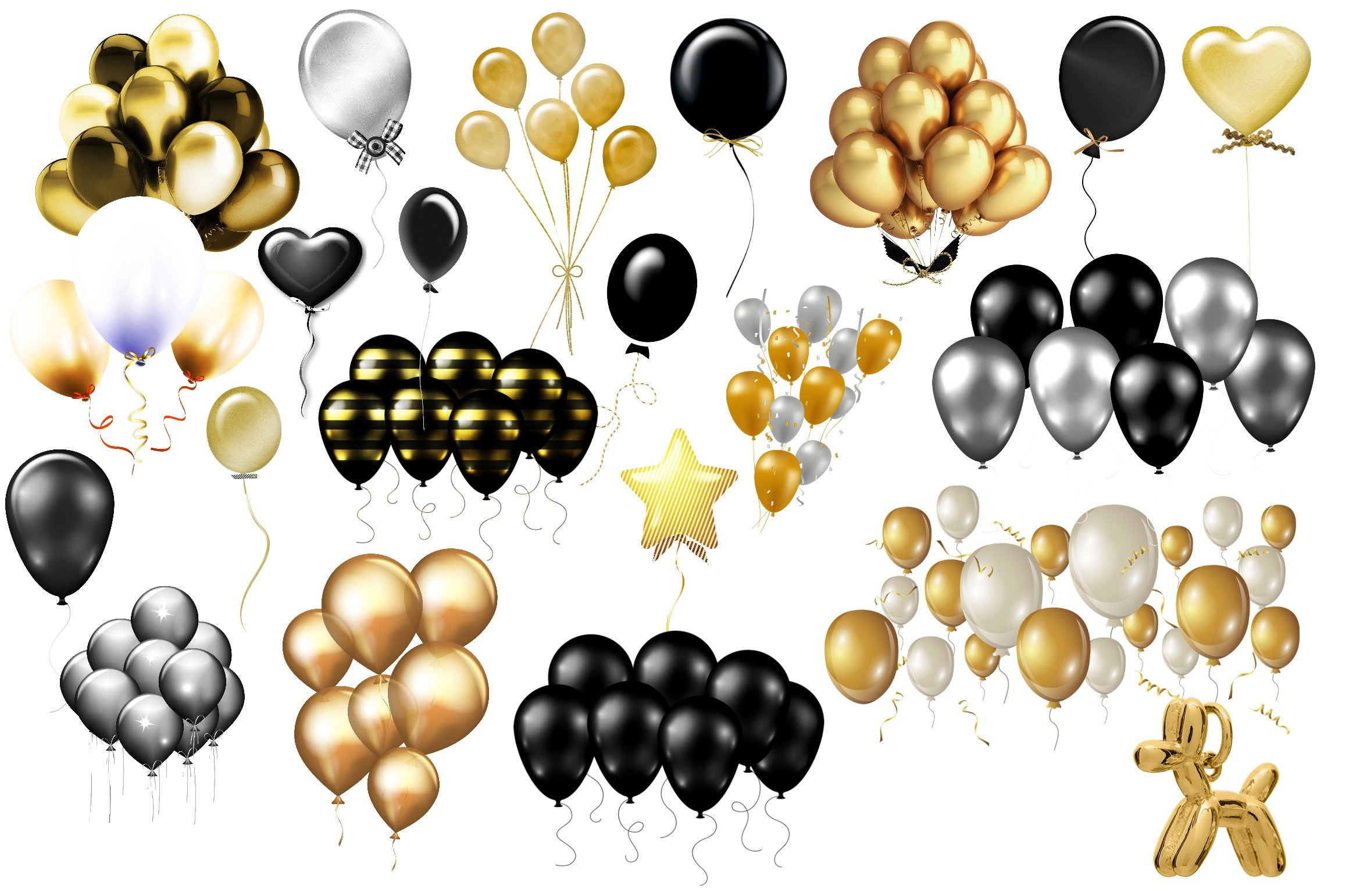 Gold. Black and Silver Balloons and Confetti Clip Art example image 2
