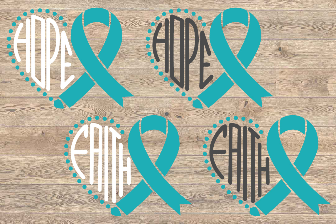 Heart Faith Hope SVG Loss Svg Ovarian Cervical ribbon 1559s example image 2