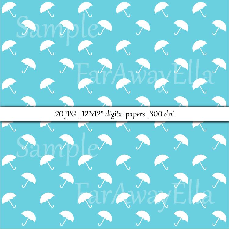 Umbrella JPG digital paper | 20 seamless patterns example image 2