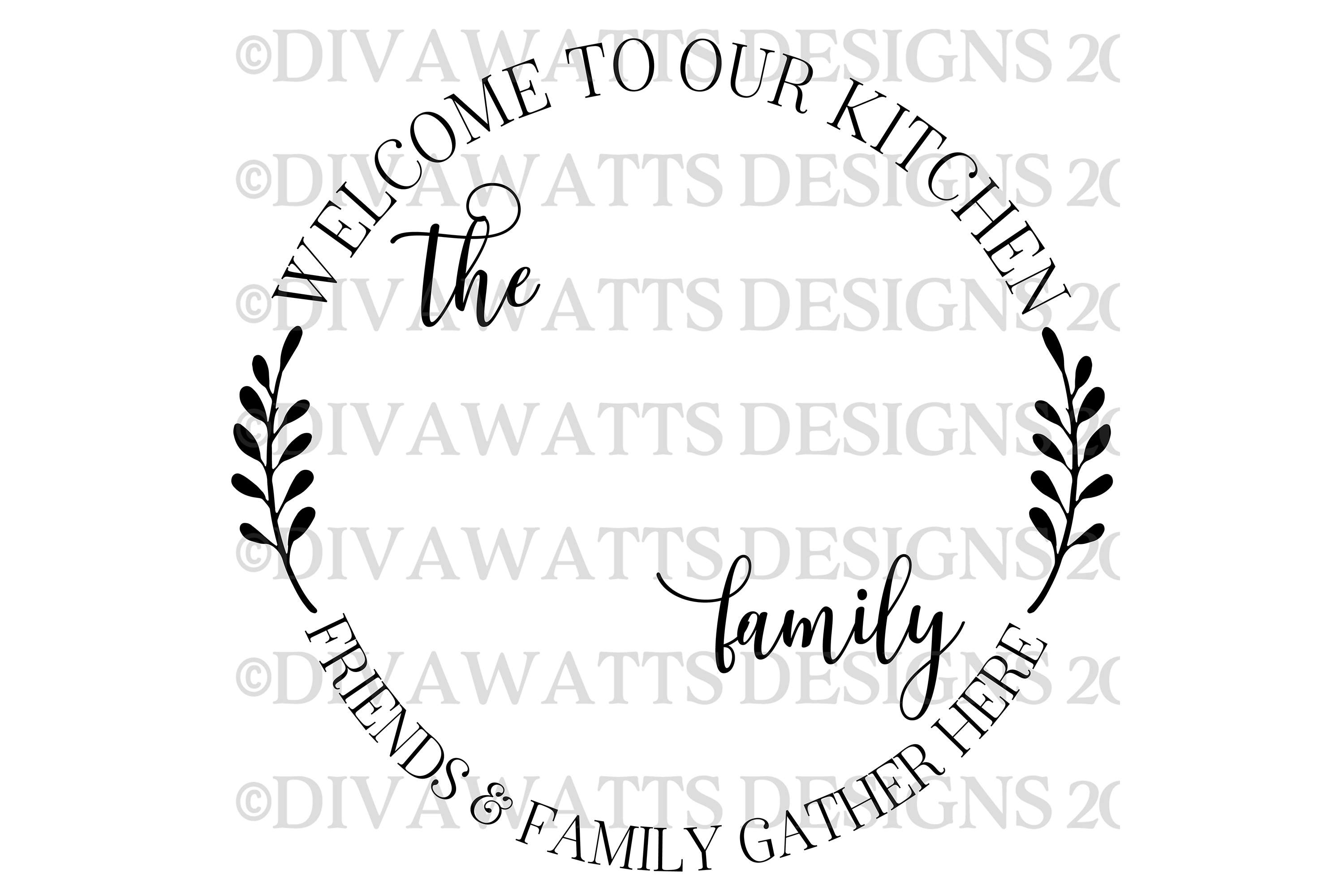 Kitchen Monogram Sign - Friends & Family Gather Here - SVG example image 5