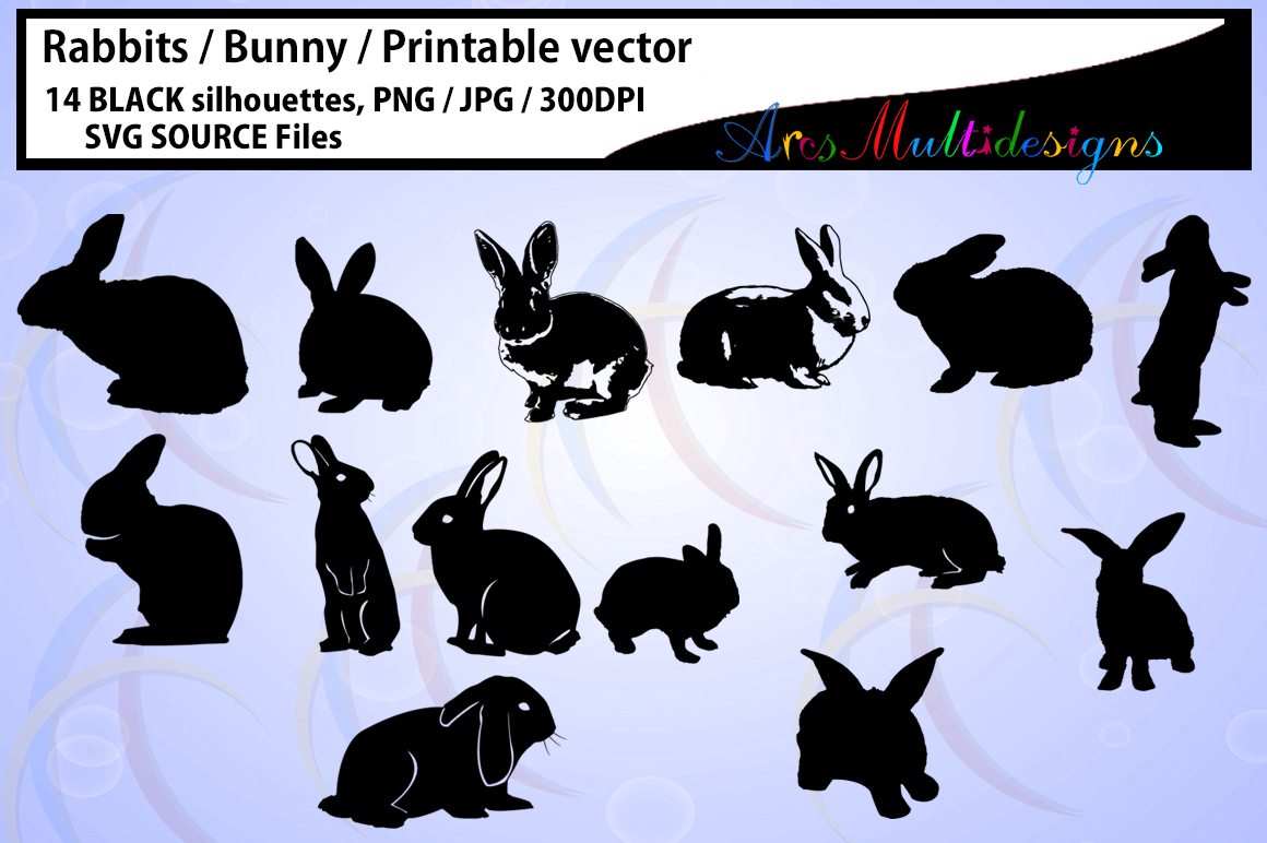 Rabbit Silhouette / vector rabbit / Bunny Silhouettes / High Quality / printable bunny / rabbit / bugs bunny / SVG / PNG / easter bunny example image 1