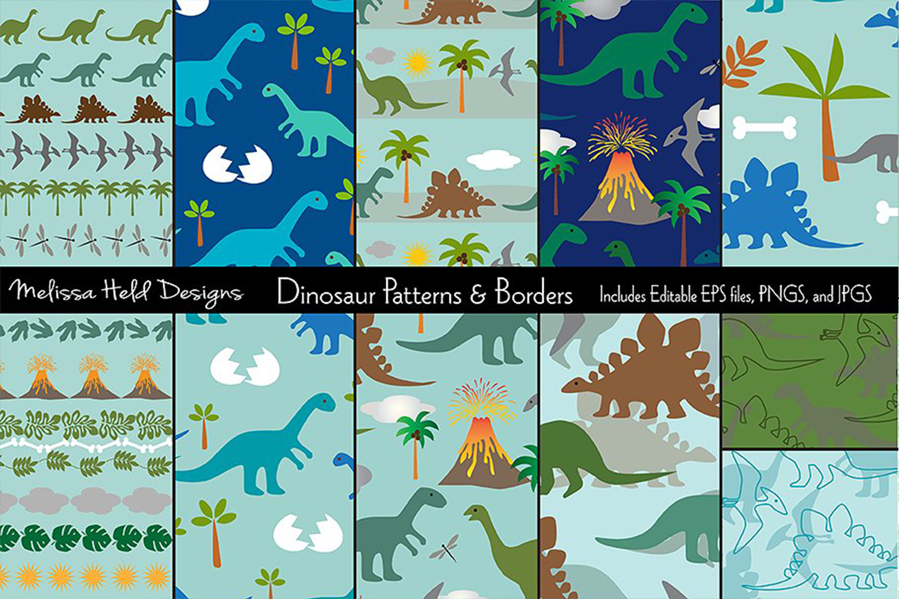 Dinosaur Patterns and Borders example image 1