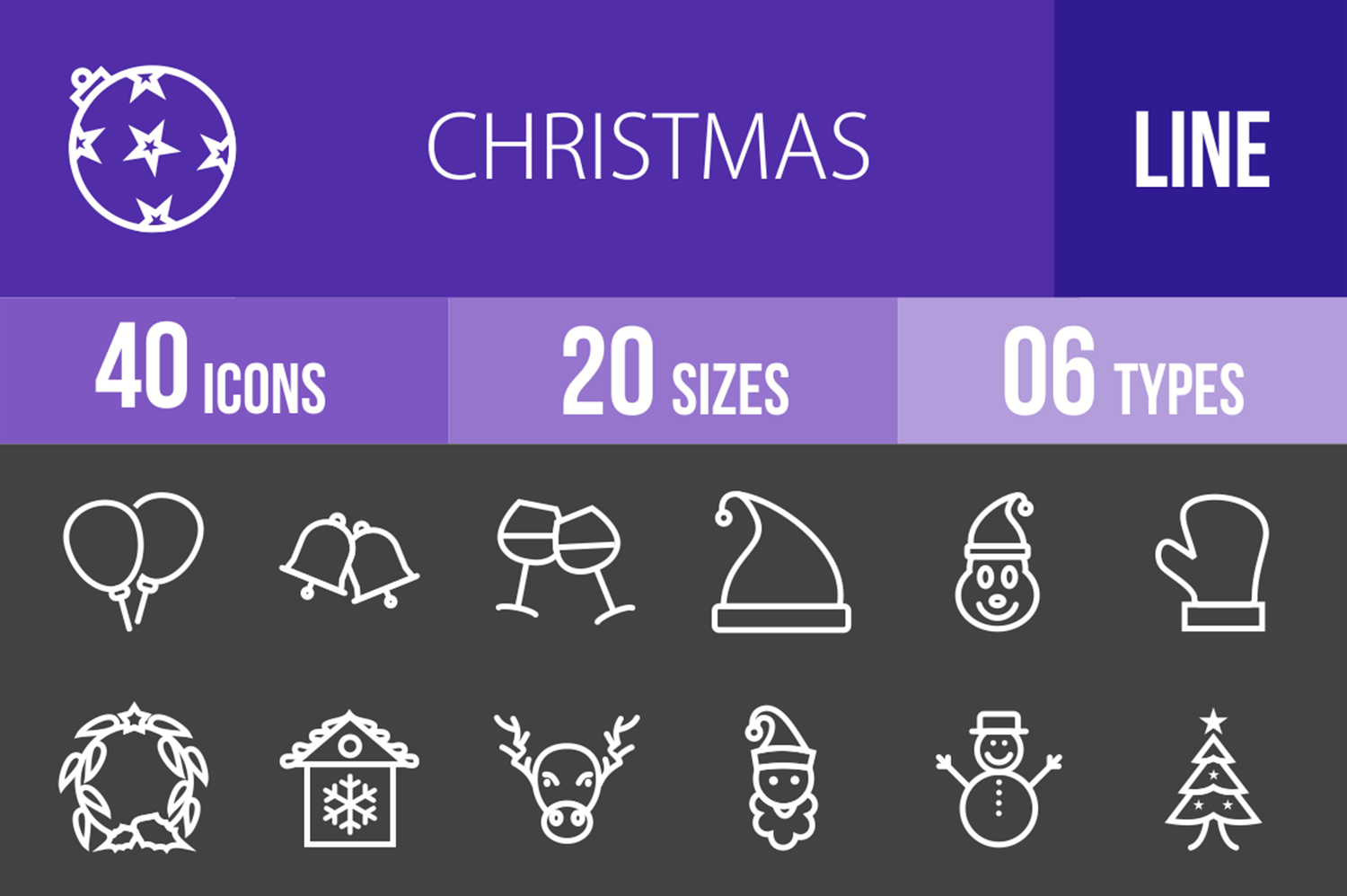 40 Christmas Line Inverted Icons example image 1