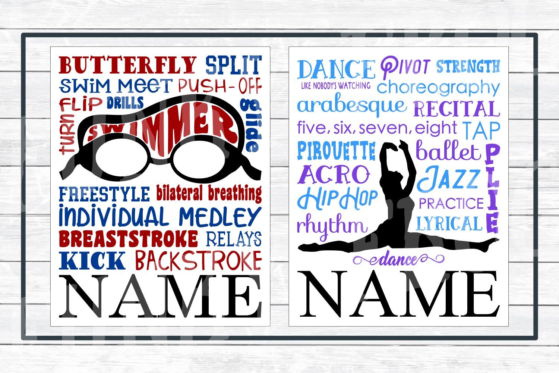 Sports Subway Art Design Bundle SVG Cut Files,PNG Printables example image 3