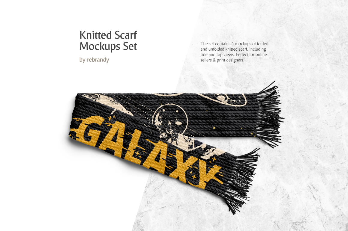 Knitted Scarf Mockups Set example image 1