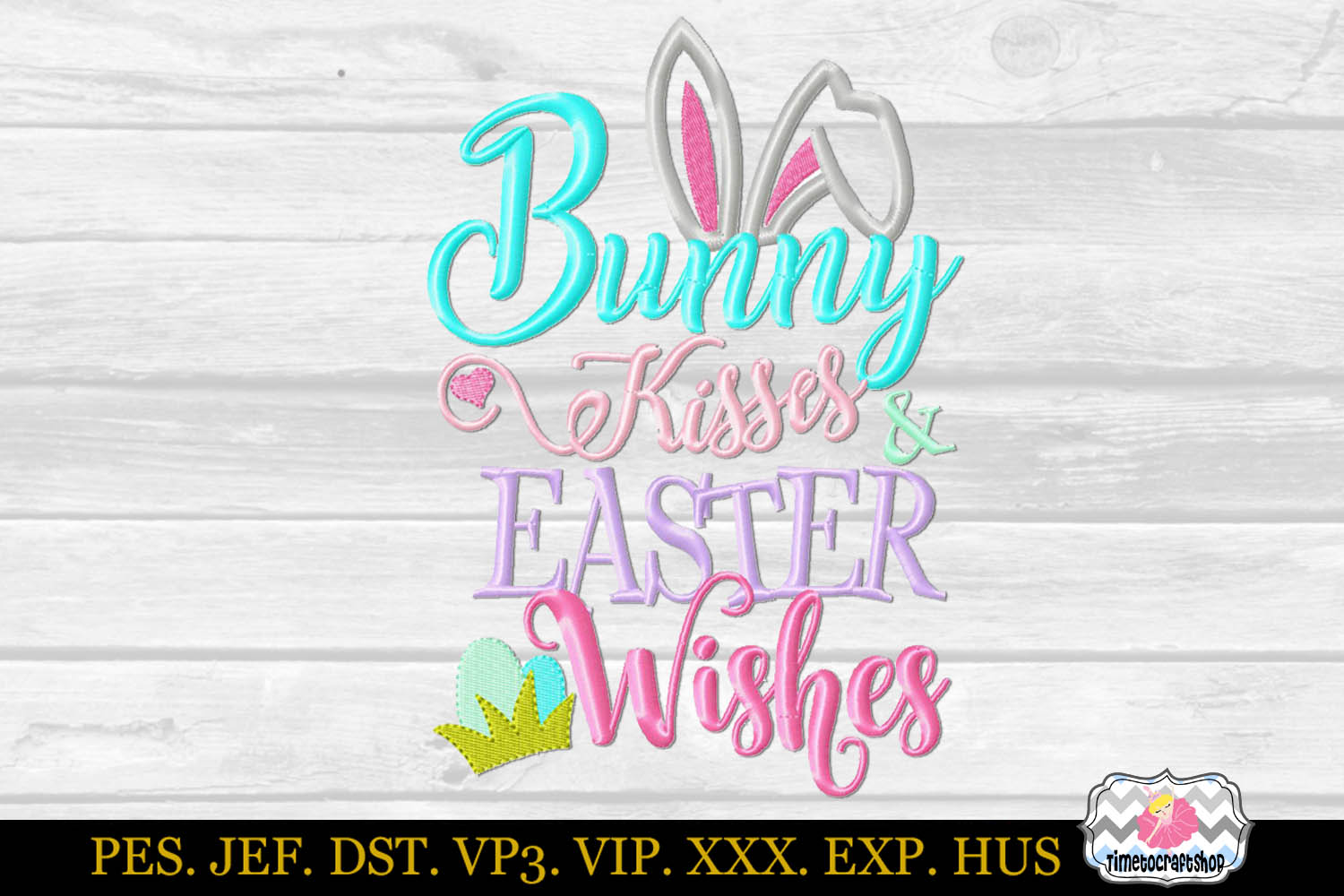 Bunny Kisses and Easter Wishes Embroidery Applique Design example image 2