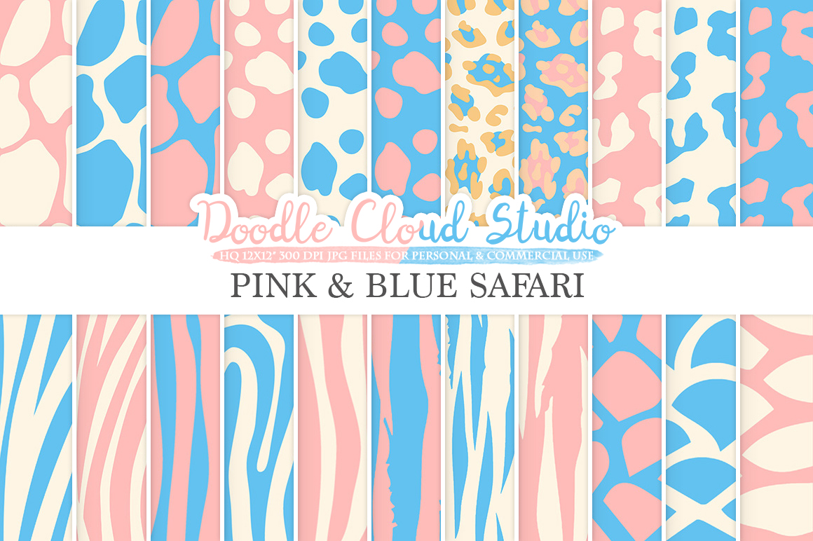 Pink and Blue Animal Safari digital paper, Fur pattern, Giraffe Zebra Leopard Snake Tiger Azure backgrounds for Personal & Commercial Use example image 1
