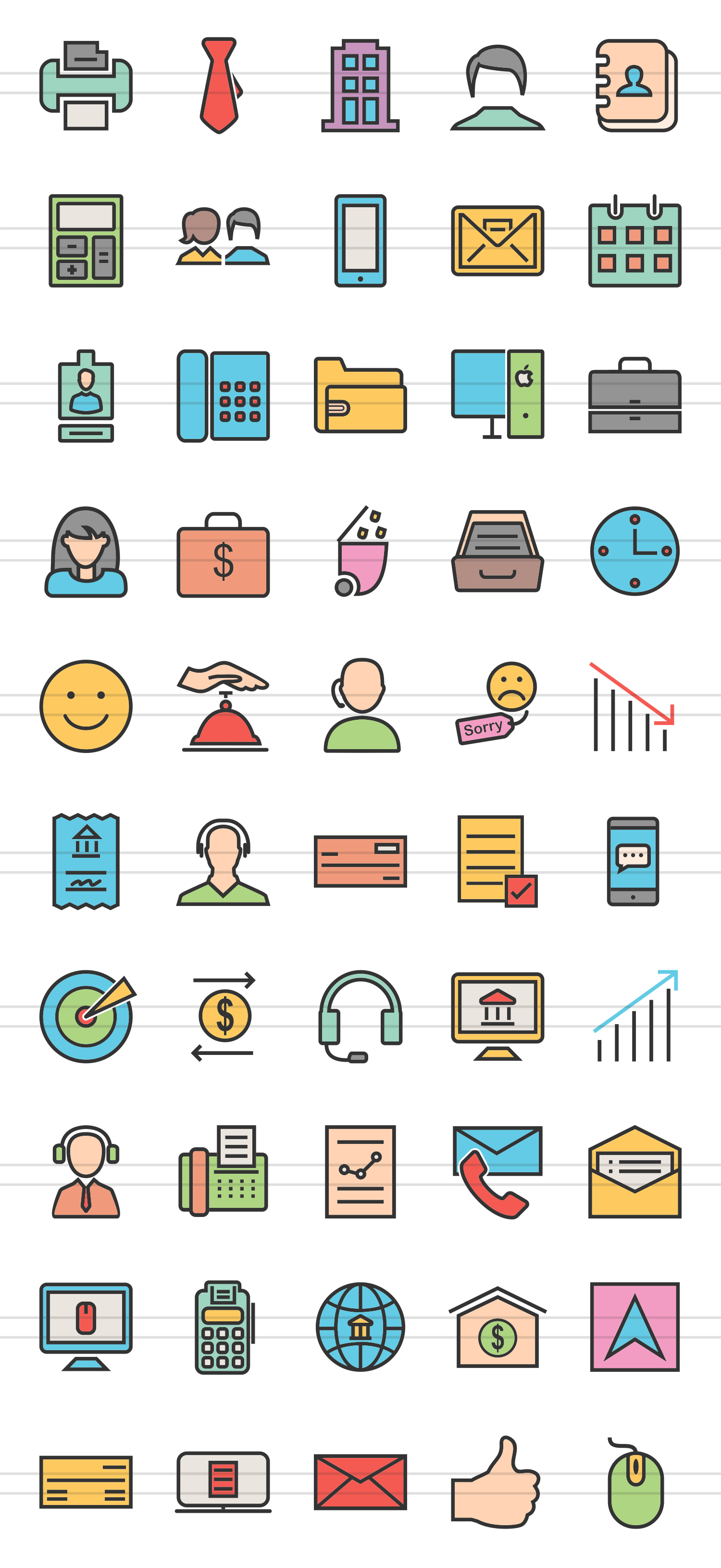 50 Business Linear Multicolor Icons example image 2