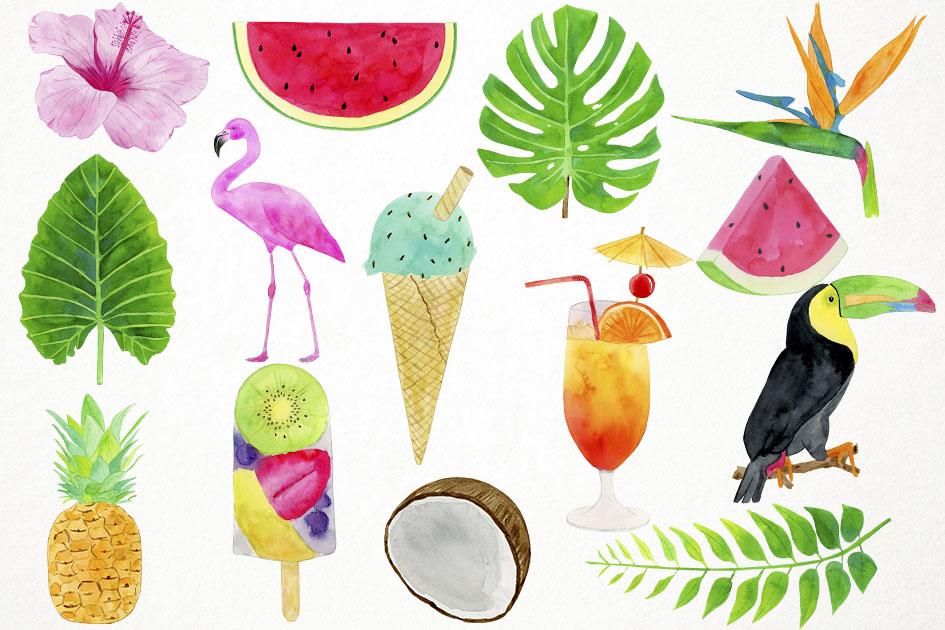 Watercolor Tropical Clipart, Flamingo Clipart, Summer Clipar