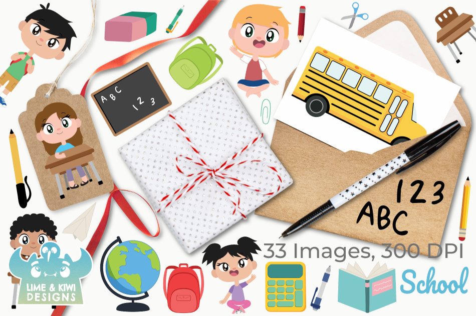 School Clipart, Instant Download Vector Art, Commercial Use example image 4
