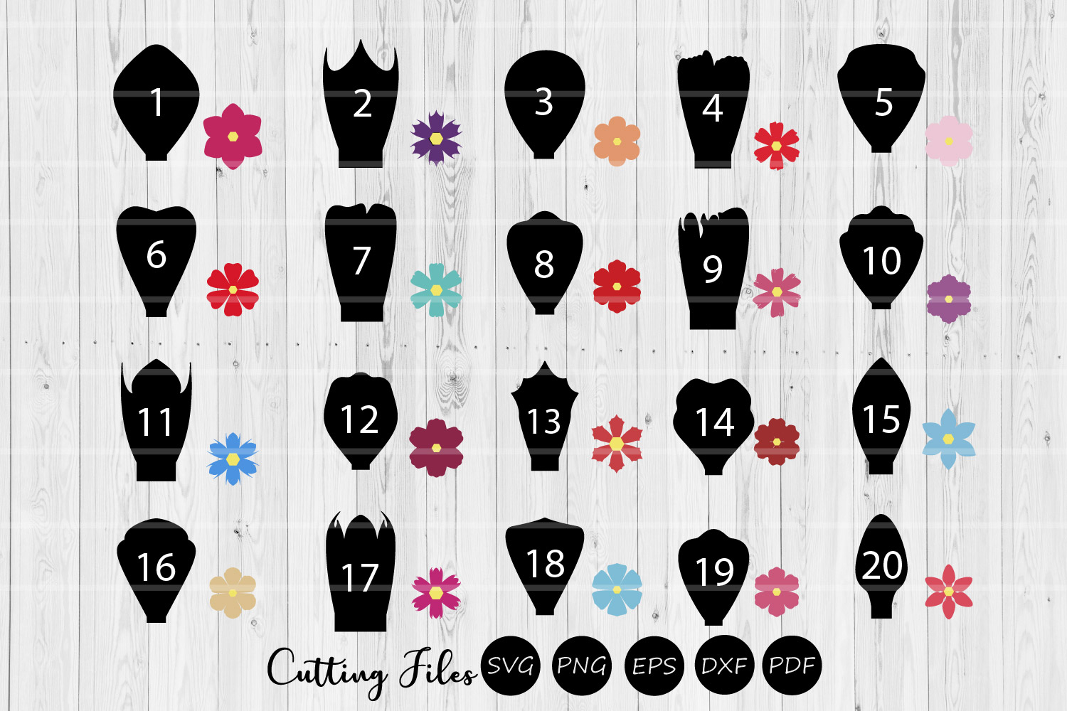 Paper Flowers Templates bundle 1 to 20|A1-40 | DIY projects example image 1