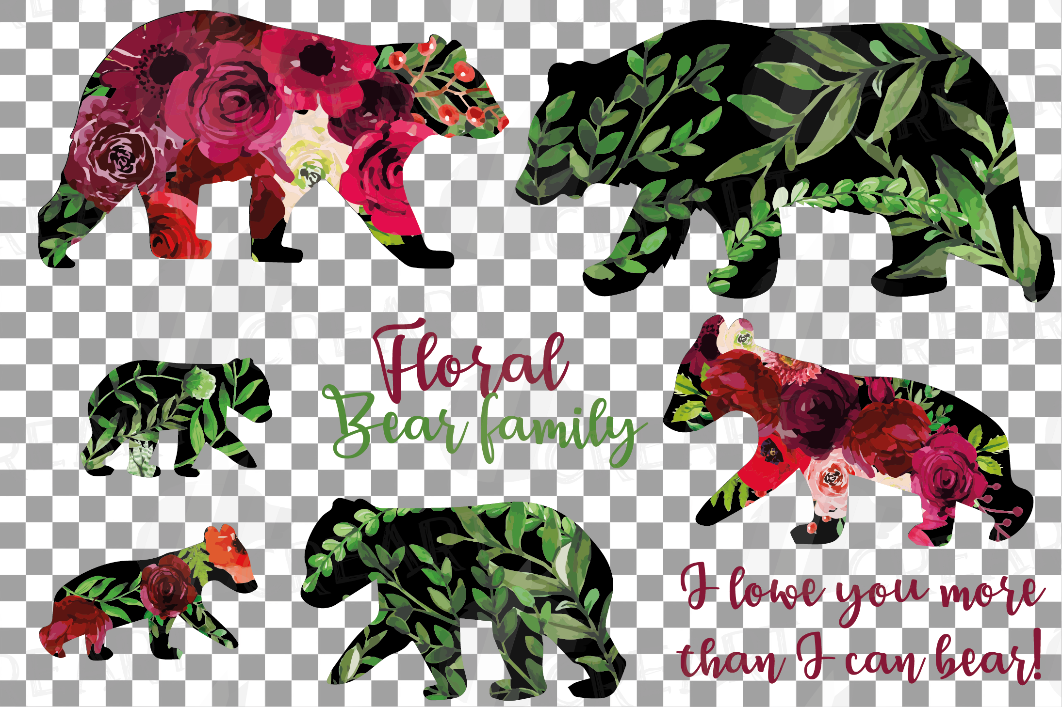 Floral bear family, sister, brother, baby, papa, mama bear example image 19