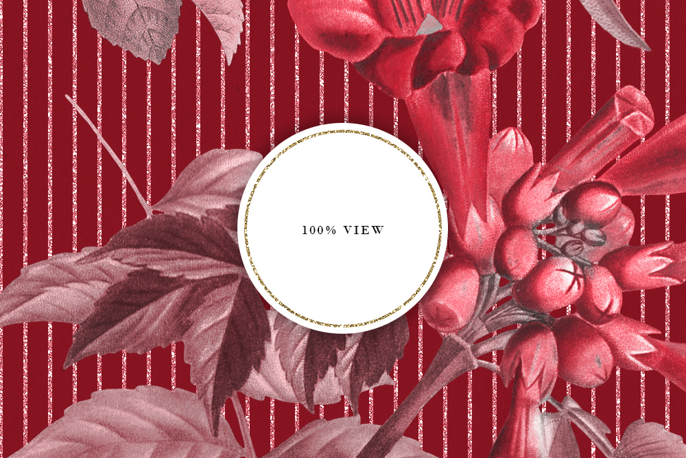 Red & Green Tileable Patterns With Vintage Flowers example image 6
