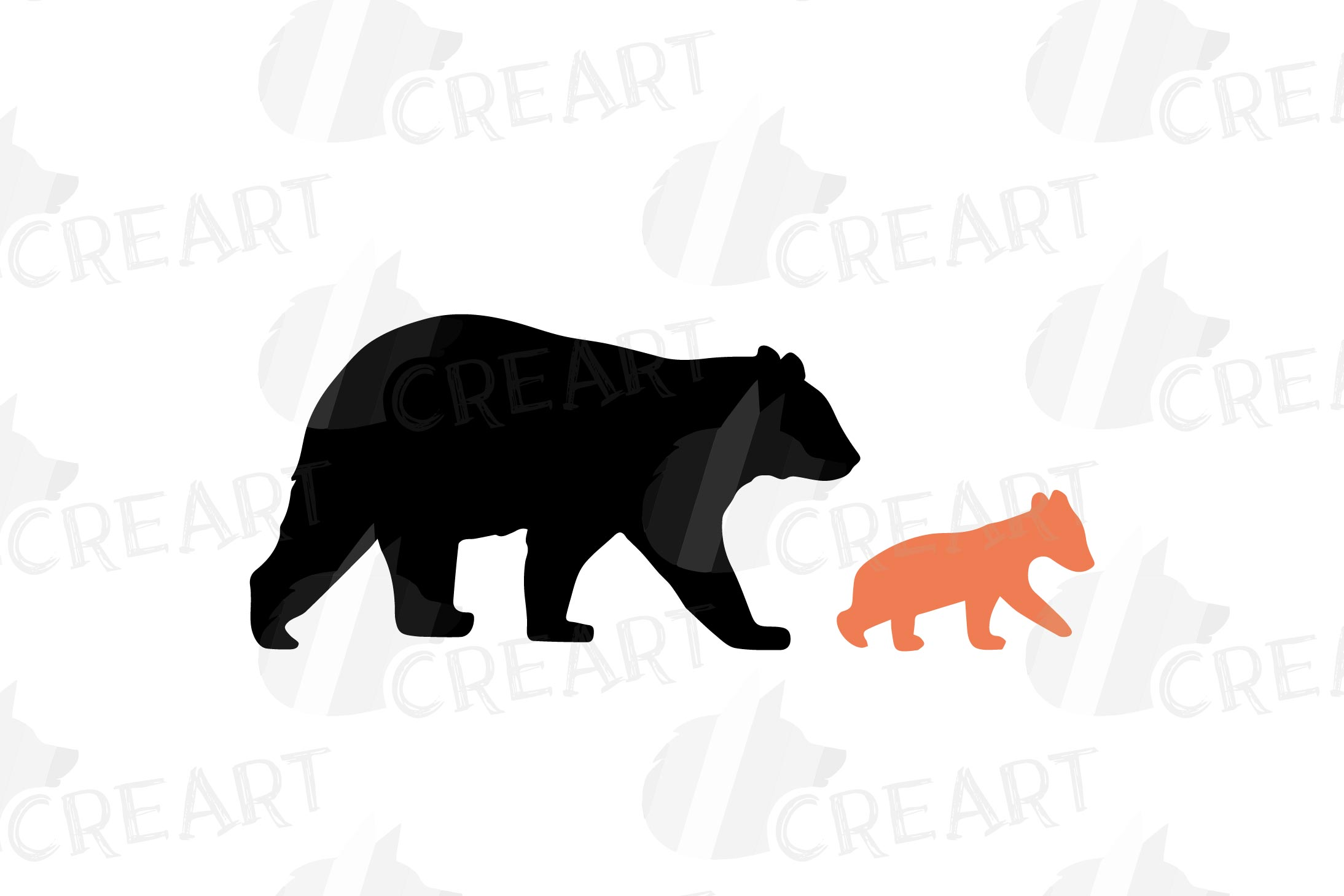 Baby and mama bear nursery clip art collection, bears print example image 3