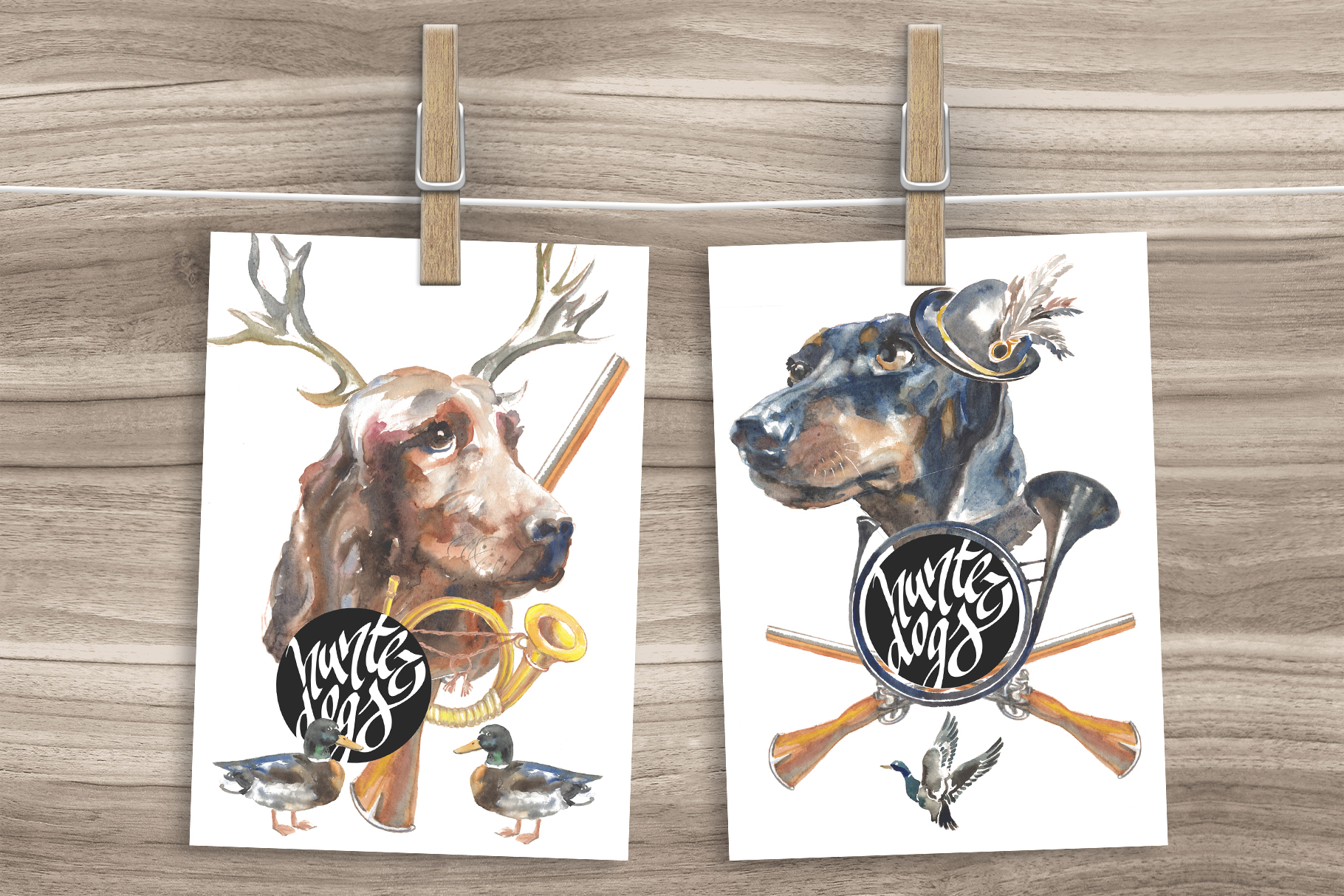 Hunter dogs Watercolor Set example image 2