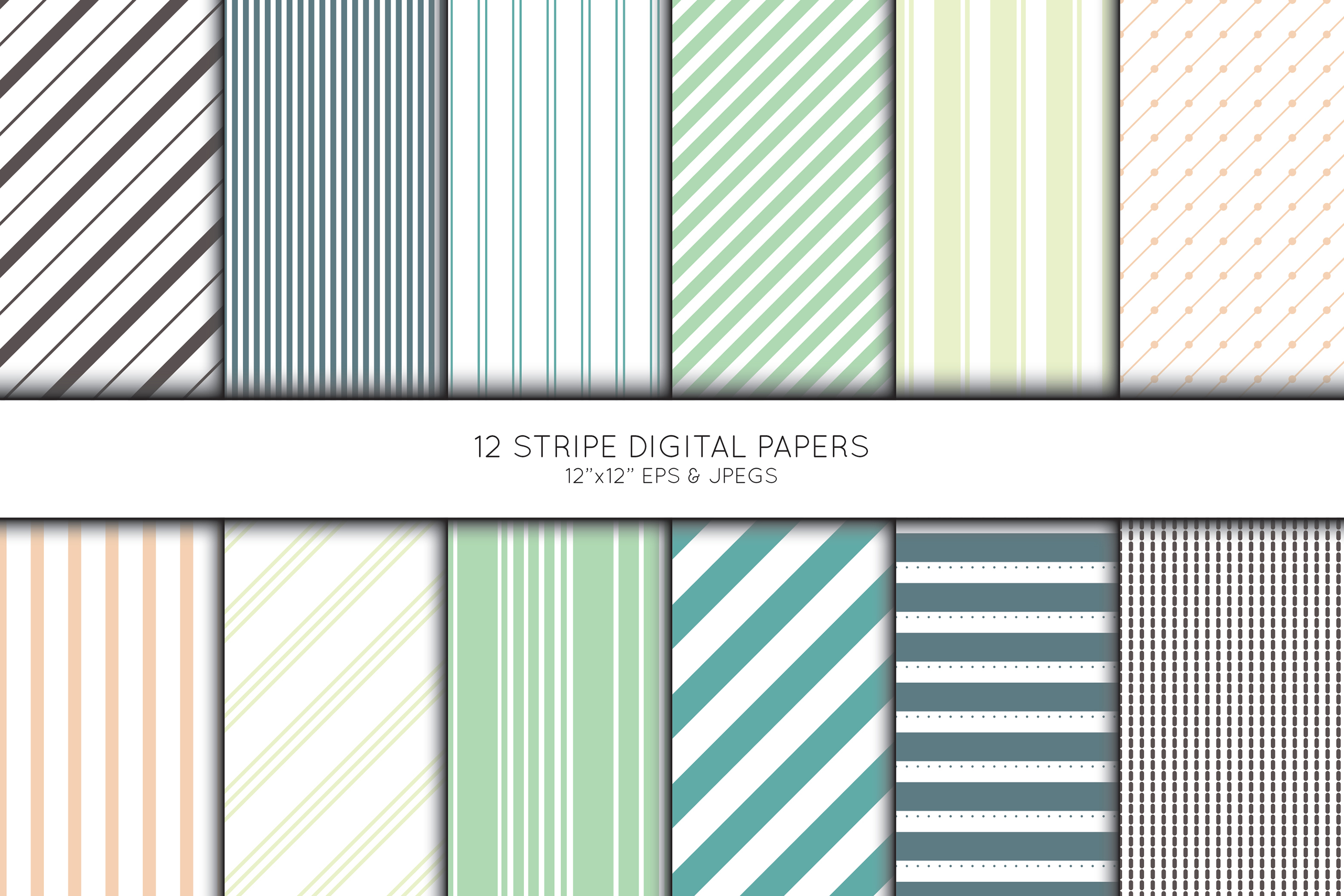 Stripe Digital Paper, Striped Scrapbook paper example image 1